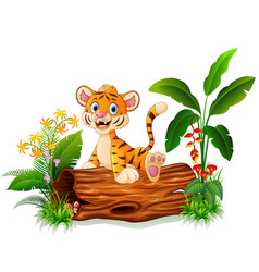 cartoon tiger sitting on tree trunk vector image