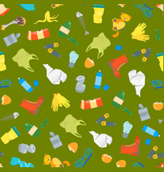 cartoon trash and garbage seamless pattern vector image