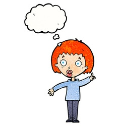 Cartoon woman explaining her point with thought vector