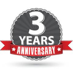 celebrating 3 years anniversary retro label vector image