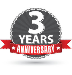 Celebrating 3 years anniversary retro label with vector