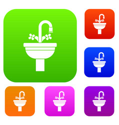 Ceramic sink set collection vector