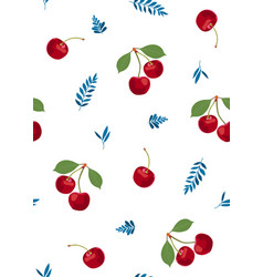 cherry fruits seamless pattern with cute leaves vector image