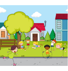 Children playing at the house field vector