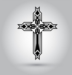 christian cross icon black christian cross sign vector image