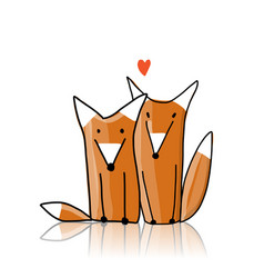 couple cute foxes sketch for your design vector image