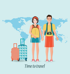 couple travelers with luggage on world map vector image