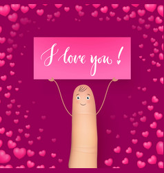 Cute finger holding card miss you realistic vector