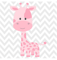 Cute pink giraffe isolated in vector