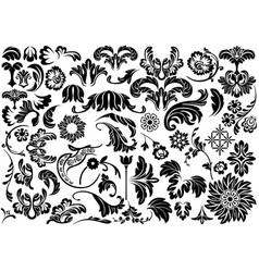 damask floral reliefs vector image