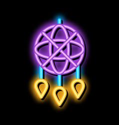 Decorative dreamcatcher neon glow icon vector