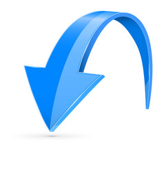 Down 3d arrow blue sign with reflection vector