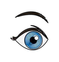 drawing blue eye vision optical design vector image