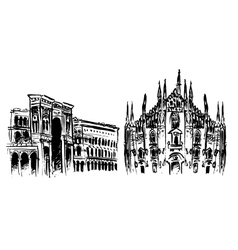 Duomo and Vittorio Emanuele II Gallery vector