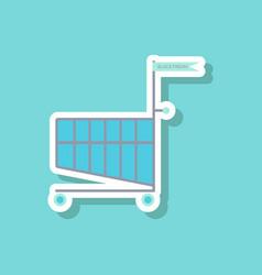 Fashion patch sale sticker shopping cart black vector