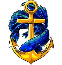 Fish around gold anchor vector