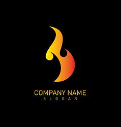 flame logo black background vector image