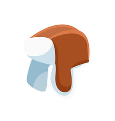 Fur hat with ear flaps vector