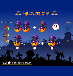 Game count the cat witch pumpkin in the halloween vector