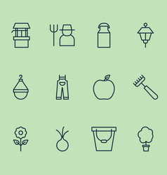 Gardening icons set with grower pail garlic and vector