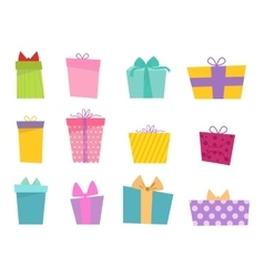 Gift box icon isolated set vector