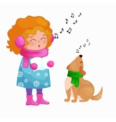 girl and dog singing christmas songs and jingle vector image