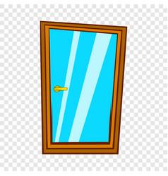 Glass door icon cartoon style vector