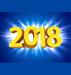 Gold 2018 year type on a bright blue background vector