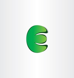 Green letter e eco symbol vector