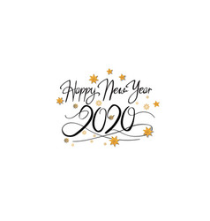 Happy new year 2020 black color with snowflake vector