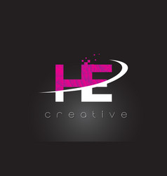 He h e creative letters design with white pink vector