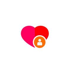 human in heart logo design happy people vector image