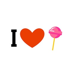 I love lollipop Heart and candy on stick Emblem vector