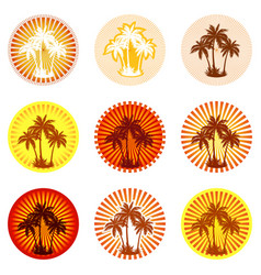 icons with palms silhouettes vector image