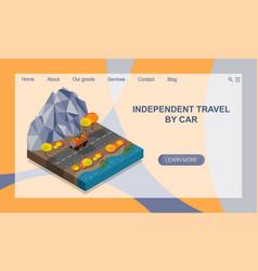 Independent travel car autumn mountain vector