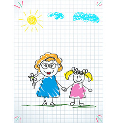 kids doodle drawings of girl and woman together vector image