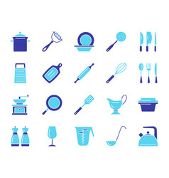 Kitchenware simple color flat icons set vector