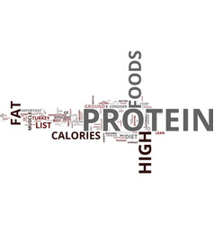 list of high protein foods text background word vector image