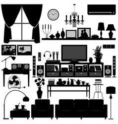 living room furniture home interior design a set vector image