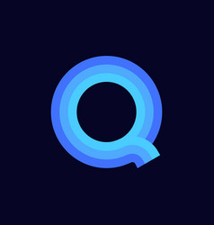 logo letter q blue glowing vector image