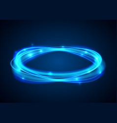 magic blue circle glowing fire ring trace vector image