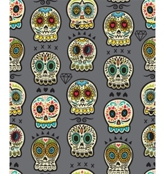 mexican day dead colorful skull cute vector image