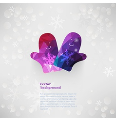 mittens characters Christmas New Year card with vector image