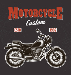 motorcycle on dark background t-shirt print vector image