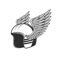 motorcycle race club biker helmet with wings vector image