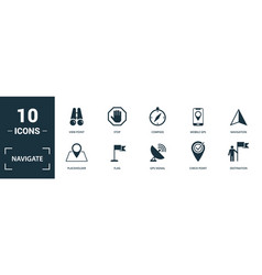 Navigate icon set monochrome sign collection with vector