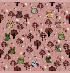 Owls forest seamless pattern vector