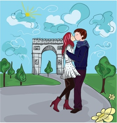 paris doodles with lovers vector image
