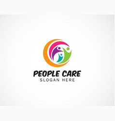 People care logo family logo connect vector