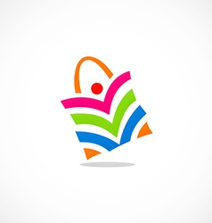 people shopping bag color logo vector image